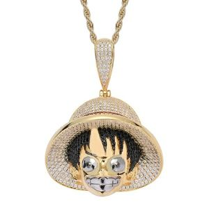 One Piece Pendant Iced Out Men's Gold Necklace